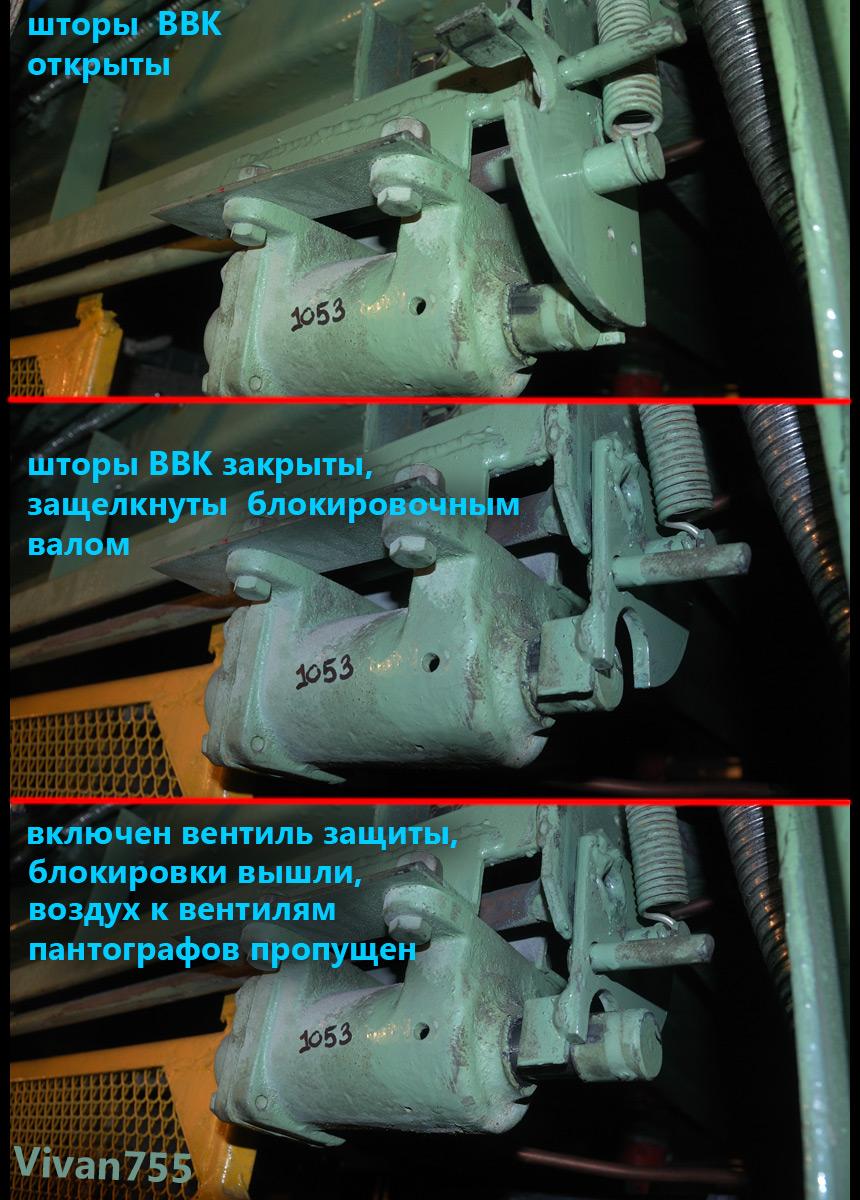Работа пневматической блокировки высоковольтной камеры электровозов ВЛ, ЭП, ЭС, ЧС2К.